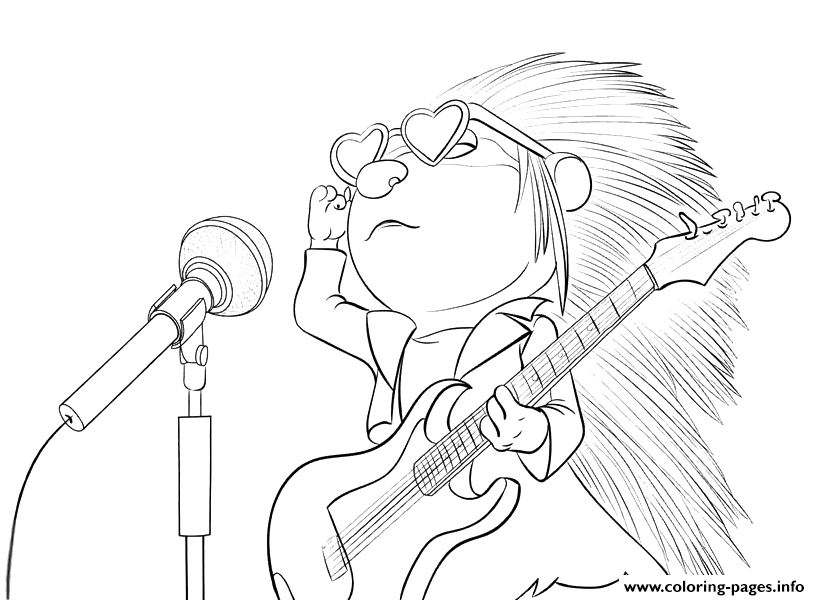 Sing porcupine coloring pages printable for Sing movie coloring pages