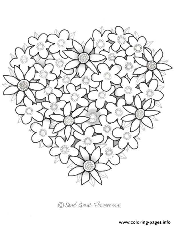 Valentine Heart Flowers Coloring Pages Printable