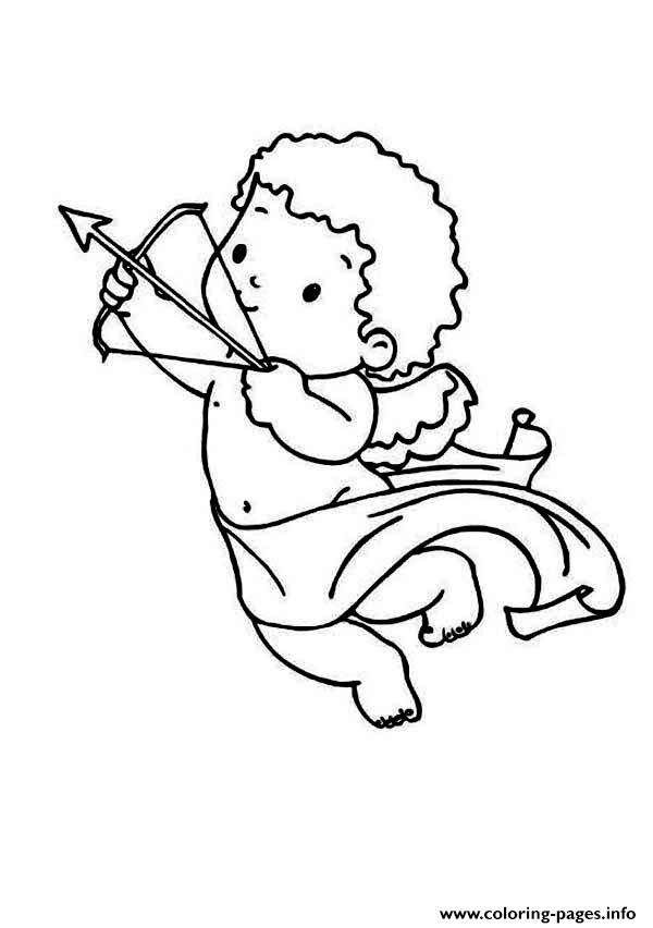 Cupid Draws His Bow And Arrow Coloring Pages Printable
