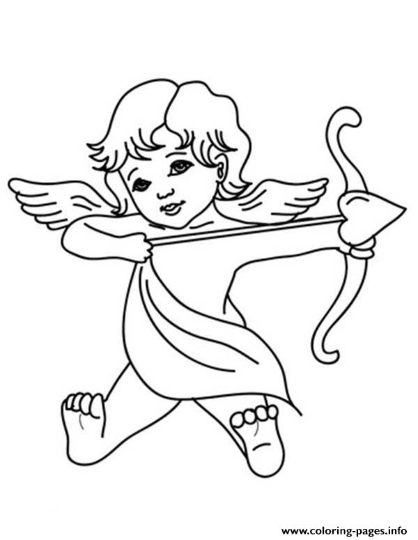 God Of Love Cupid Valentines Coloring Pages Printable