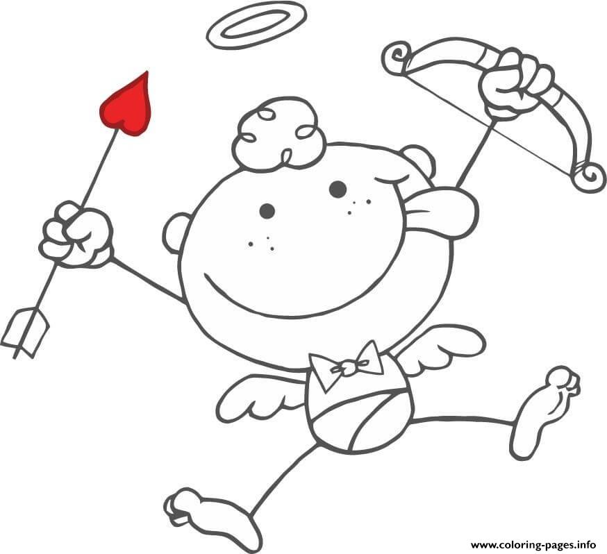 Cartoon Cupid With Bow And Arrow coloring pages