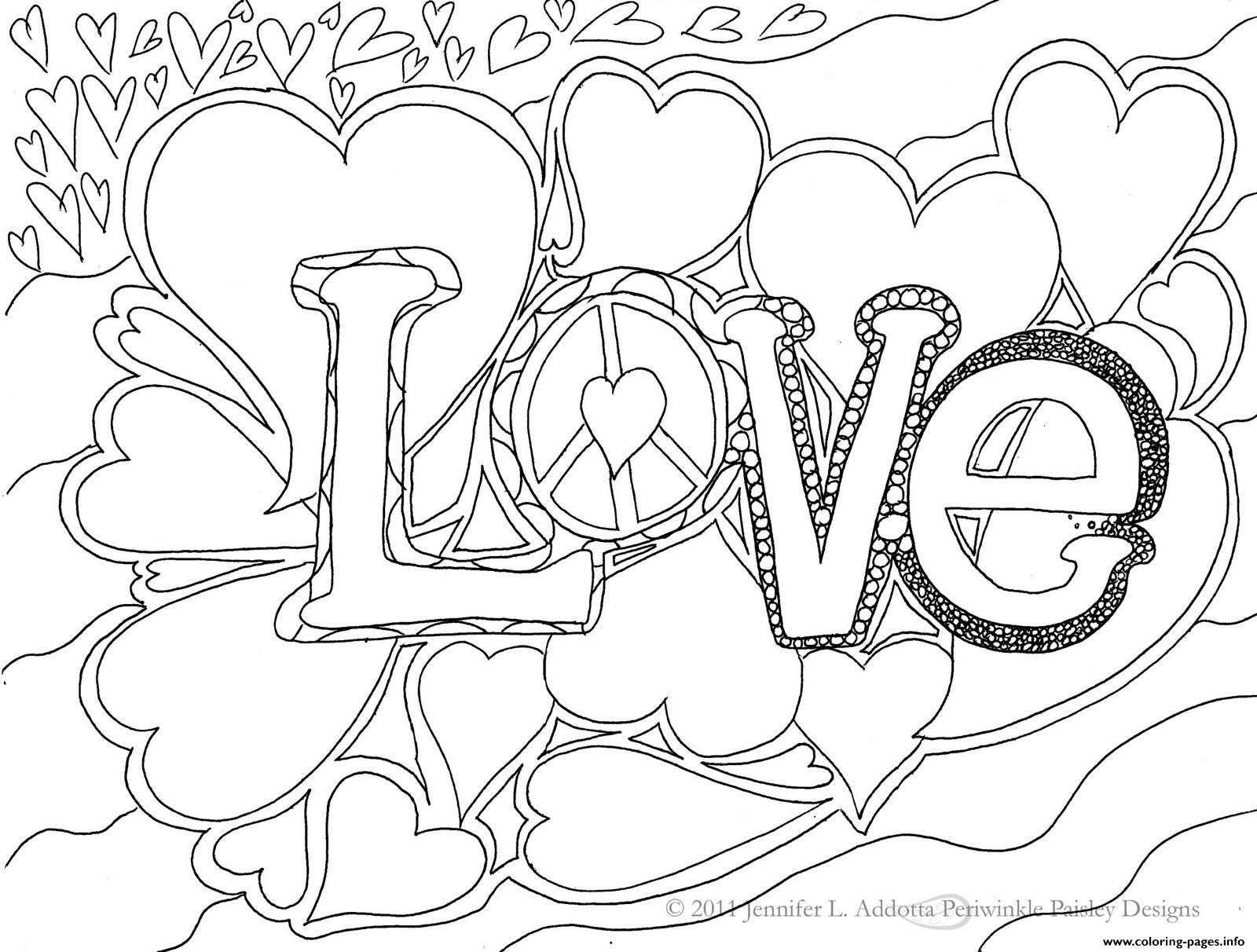 Cute Love For Adults Coloring Pages Printable