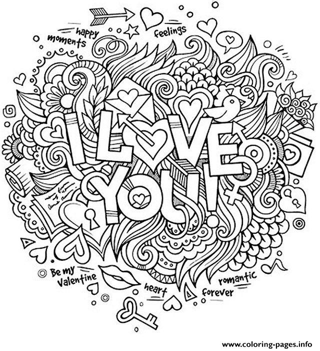 Love Doodle Valentines Day Coloring Pages Printable