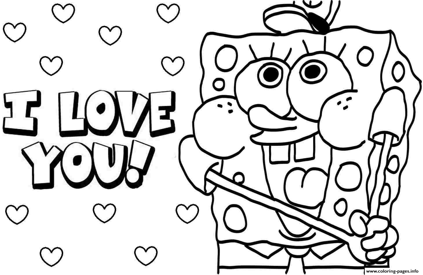 Sponge Bob I Love You Valentine Day Coloring Pages Printable