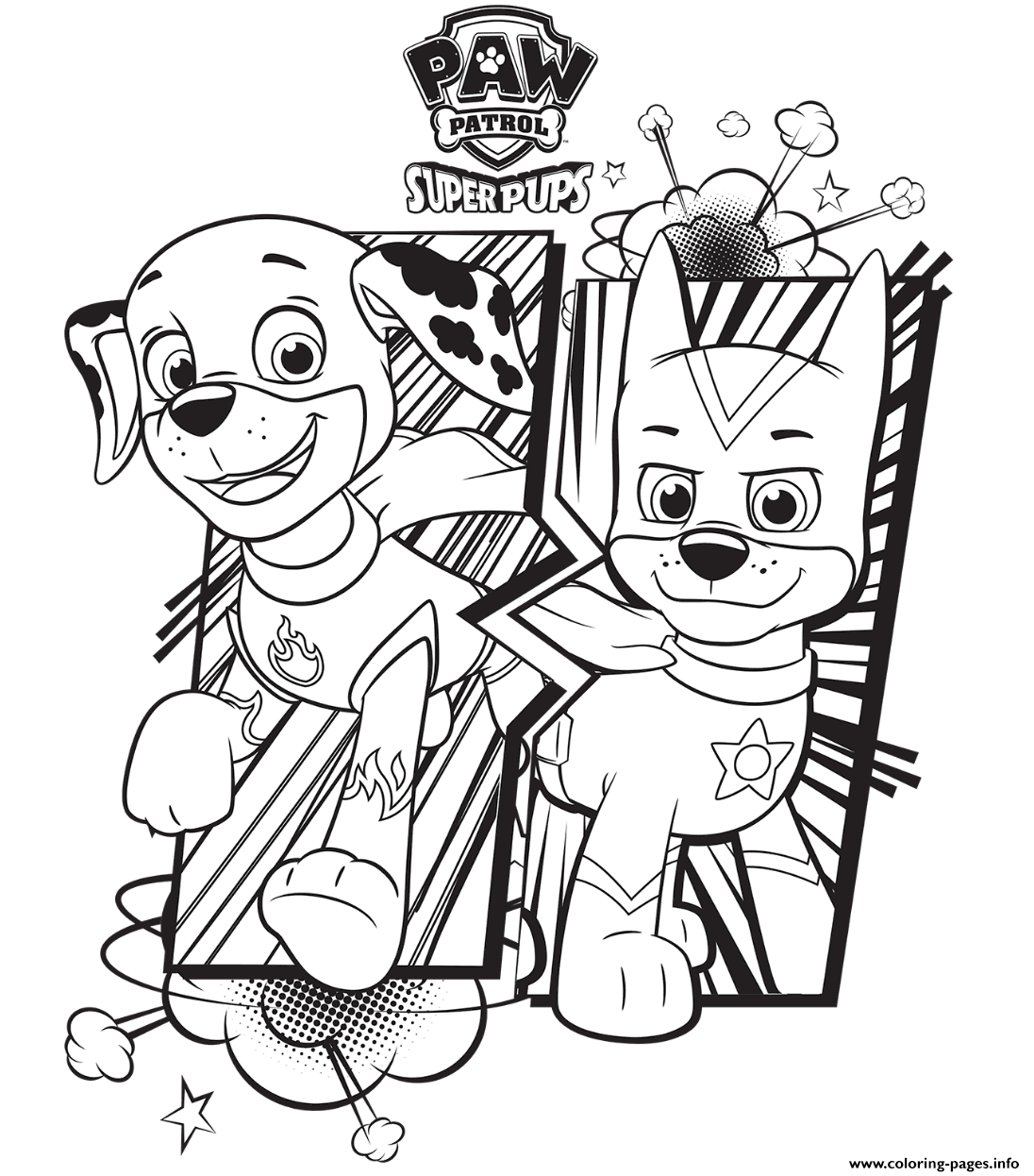Paw patrol super pups coloring pages printable