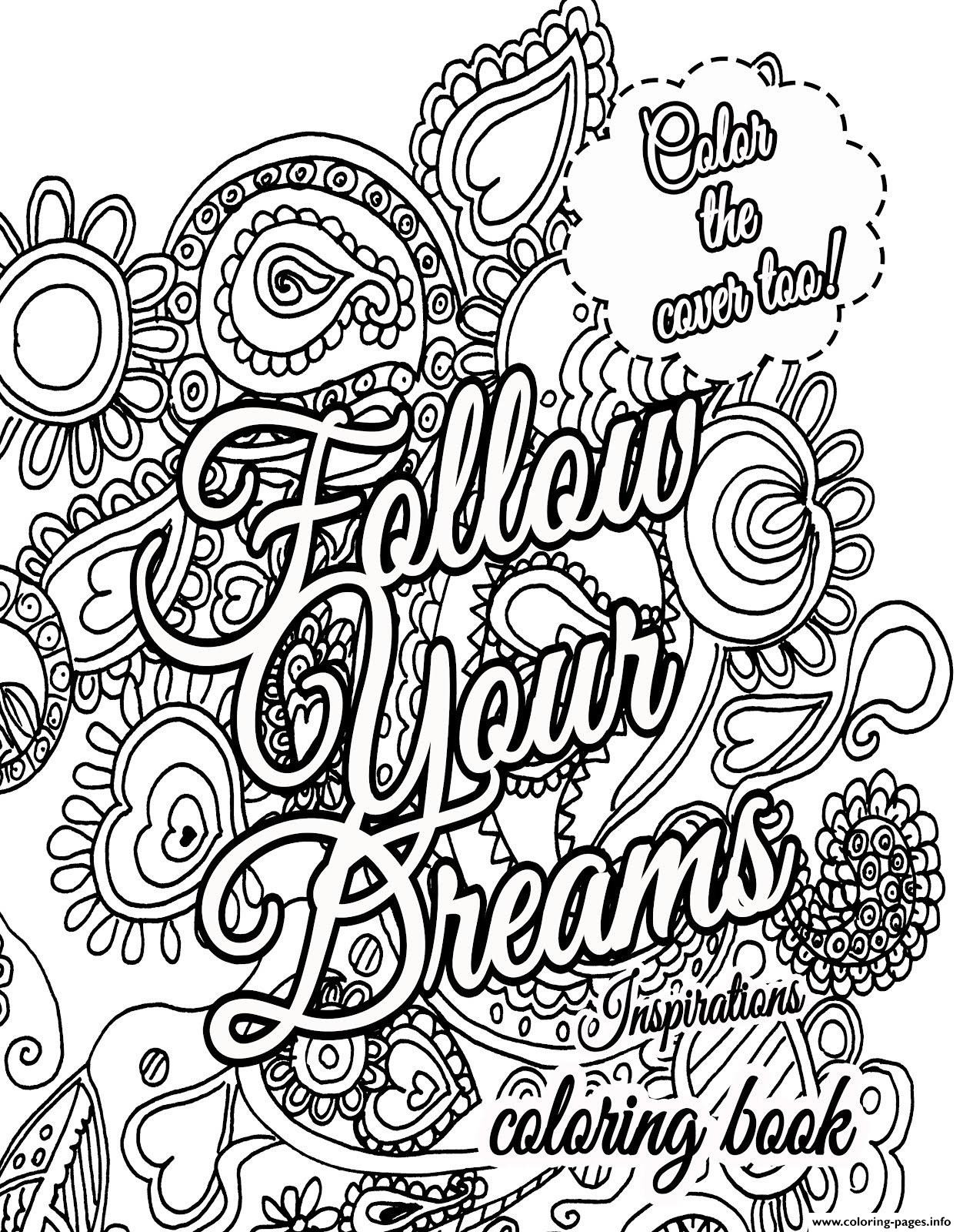 coloring pages for teens quotes - quote about dream for adults coloring pages printable