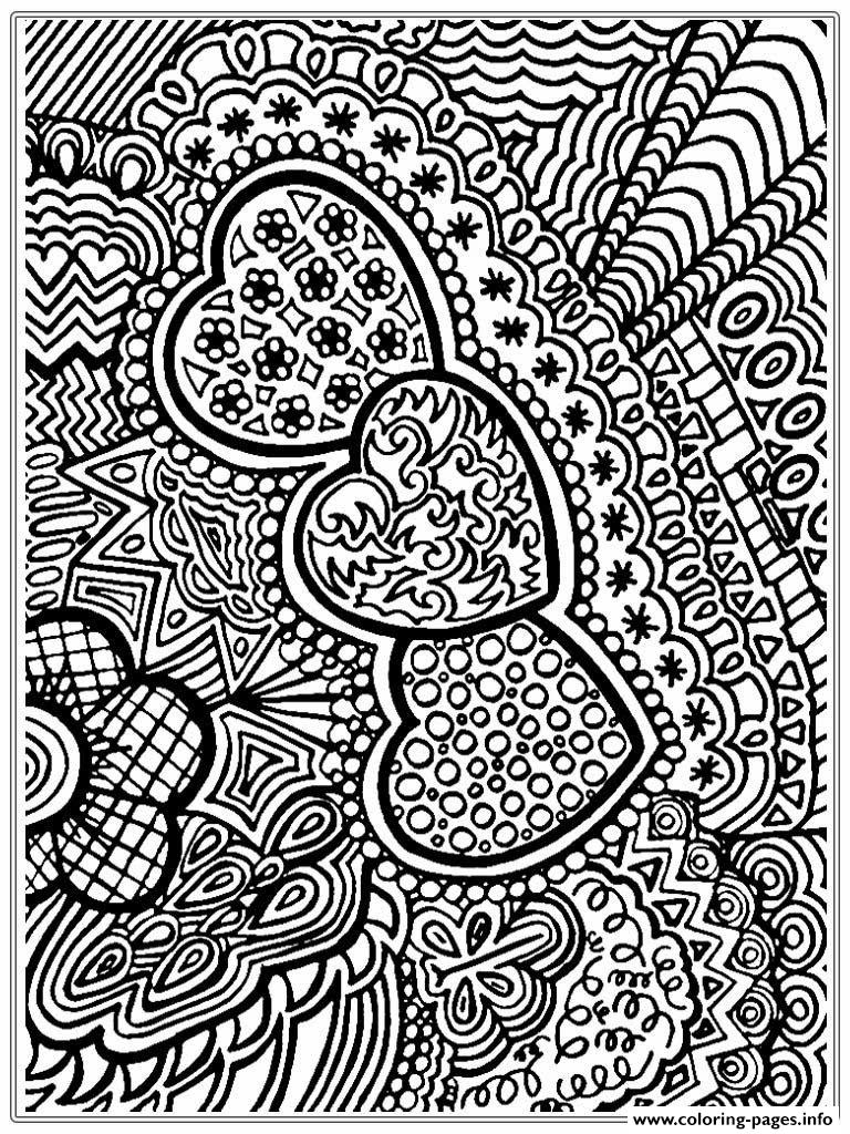 Adult Valentines Day Hearts coloring pages