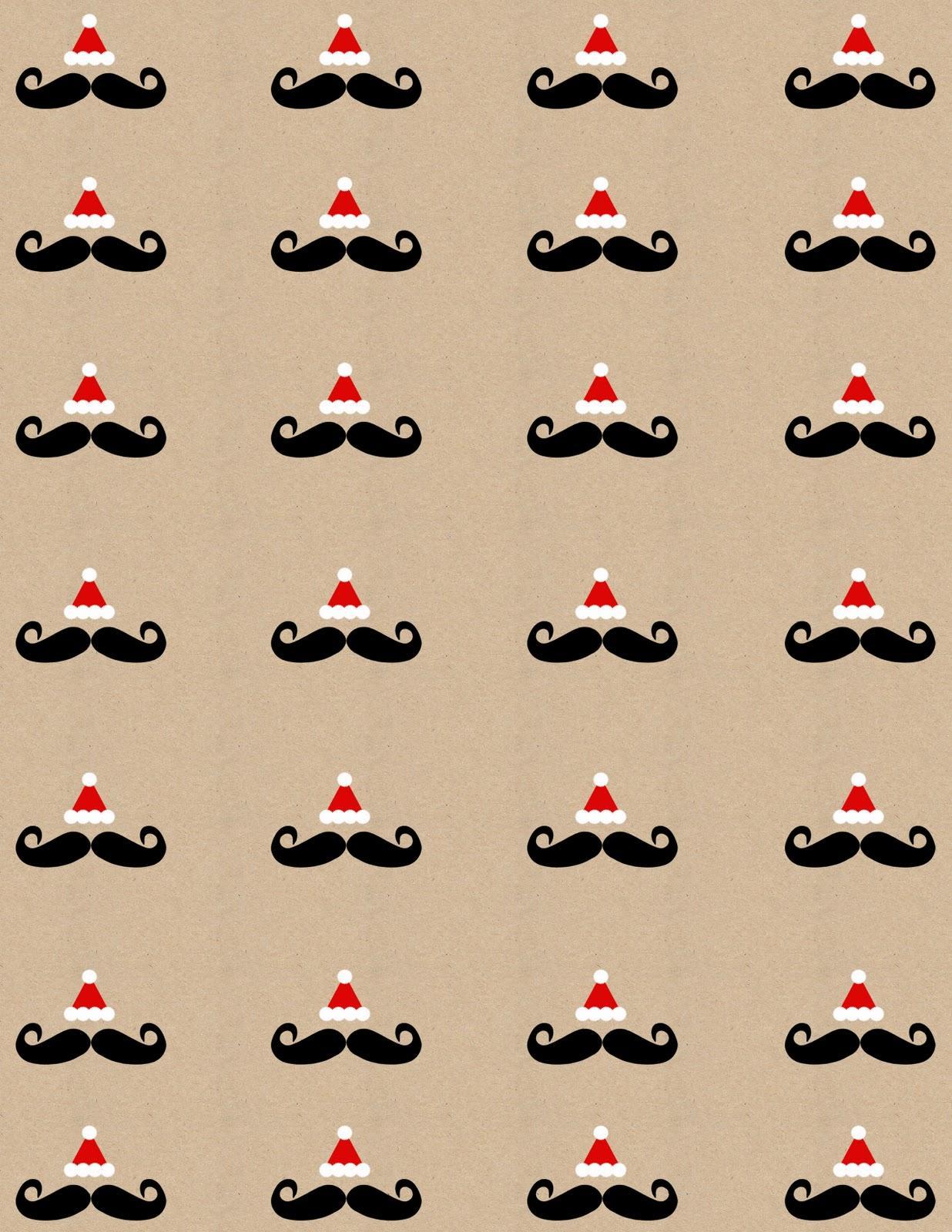 Printable Mustache Santa Holiday Wrapping Papergift Tags