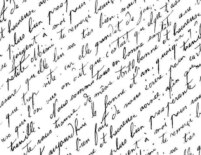 Antique French Script Handwriting Free Printable coloring pages