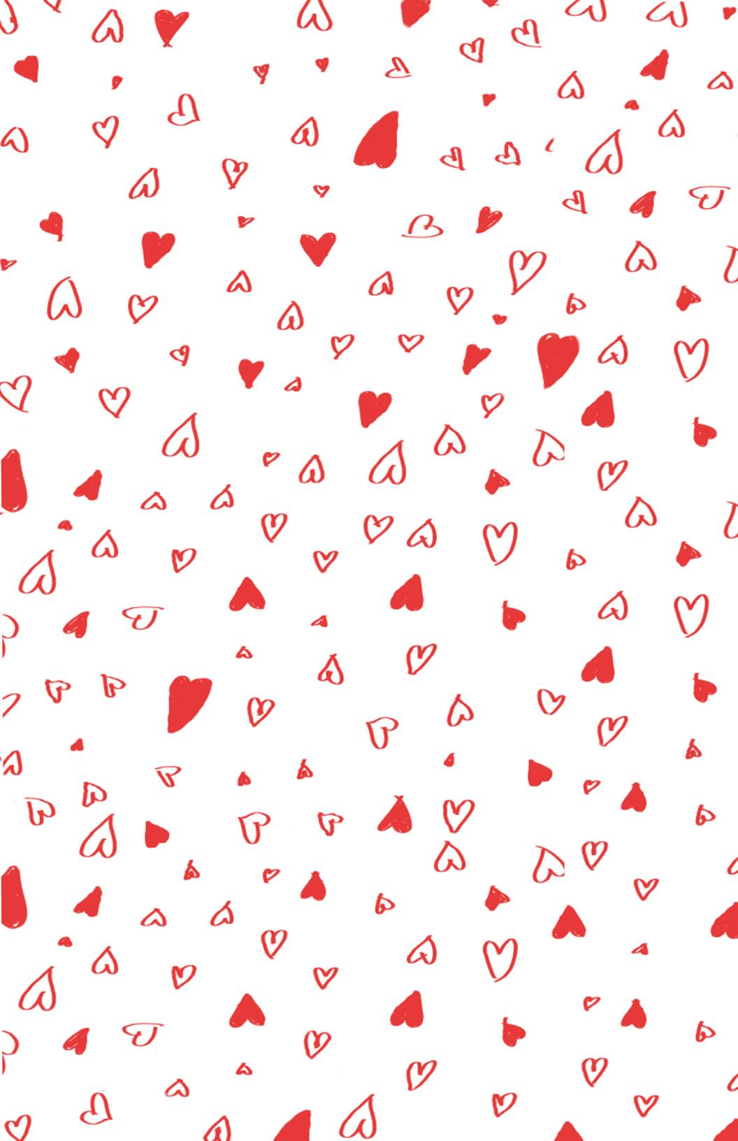 printable hand drawn valentines day wrapping paper