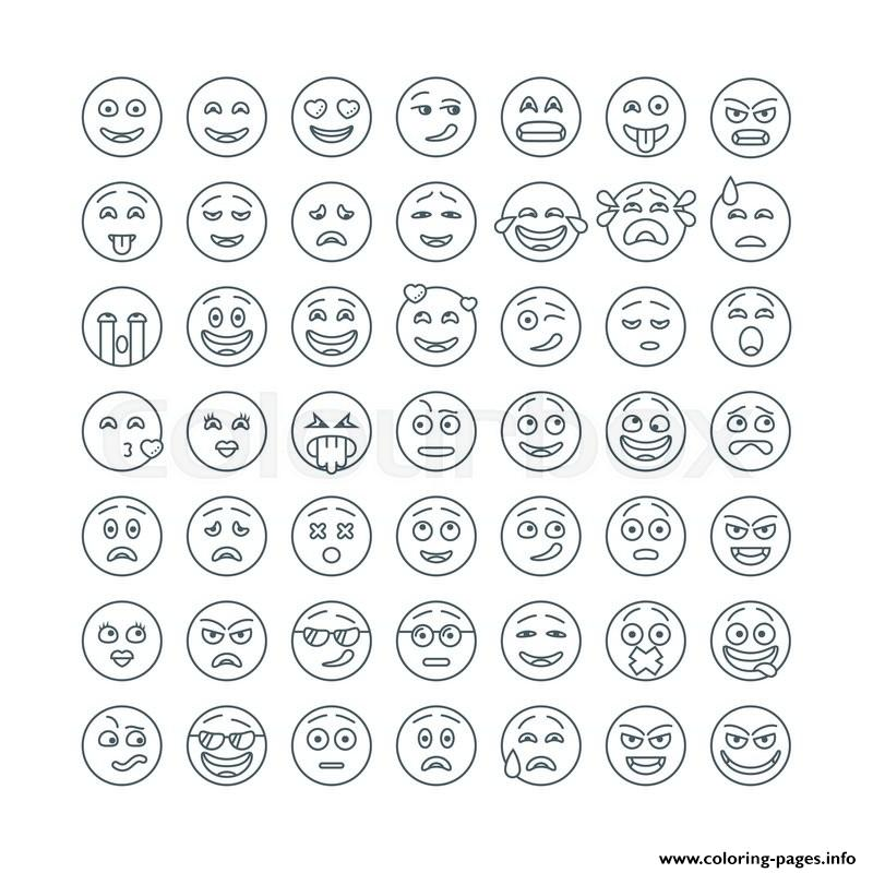 Emoji Flat Emoticons Set Modern Flat Smileys Icon coloring pages