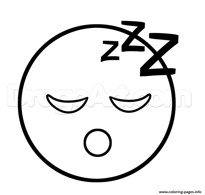 Emoji Sleep Sleepy Face Coloring Pages Printable
