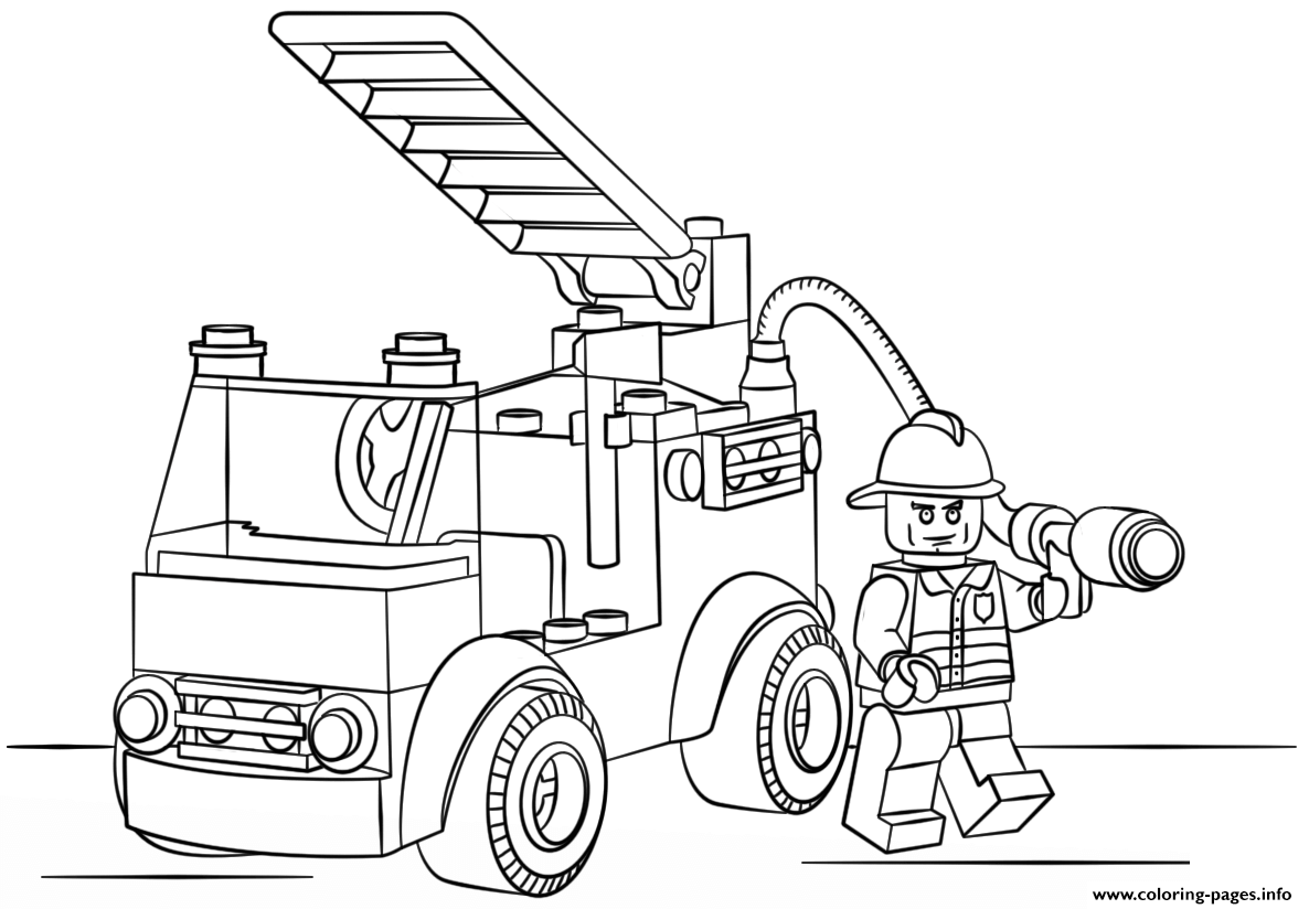 Lego fire truck police coloring pages printable for Lego coloring pages to print free