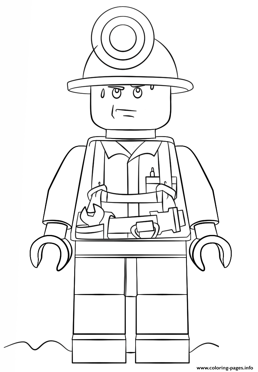 Lego Miner Police Coloring Pages Printable