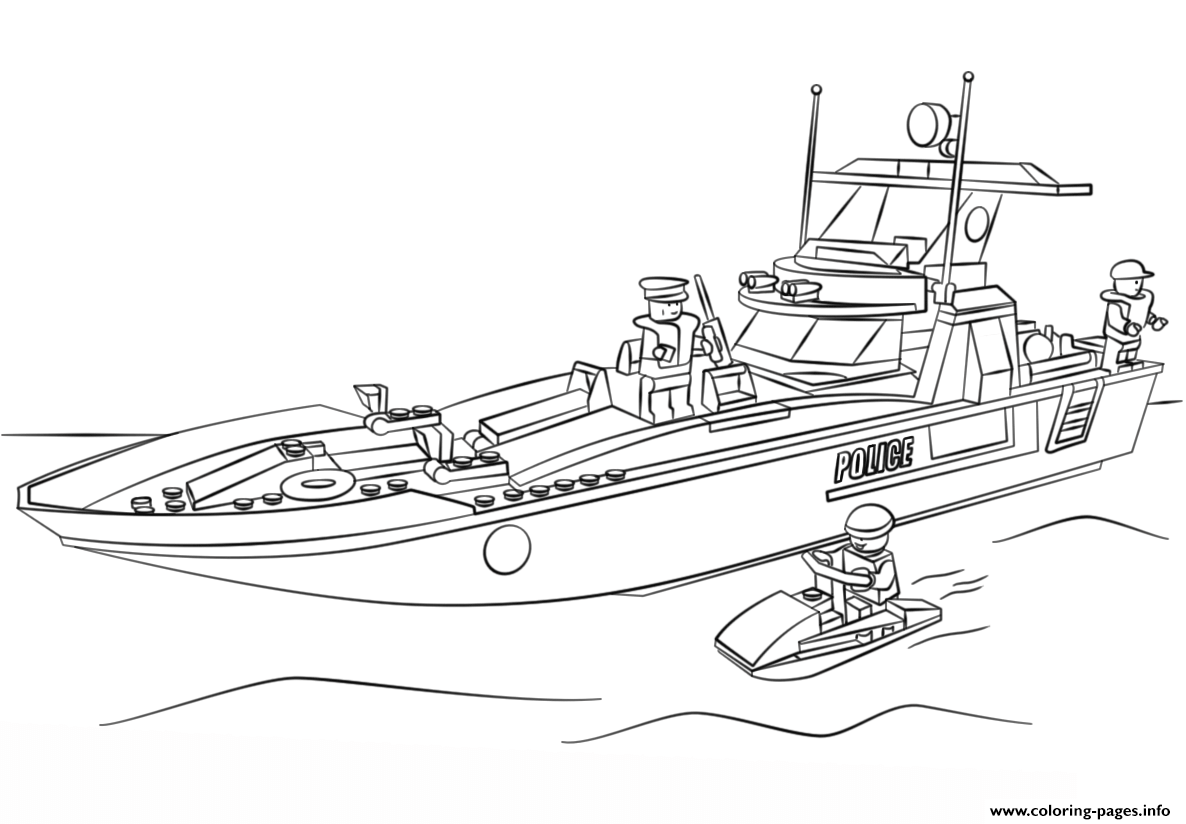 Lego Police Boat Coloring Pages Printable Boat Coloring Page