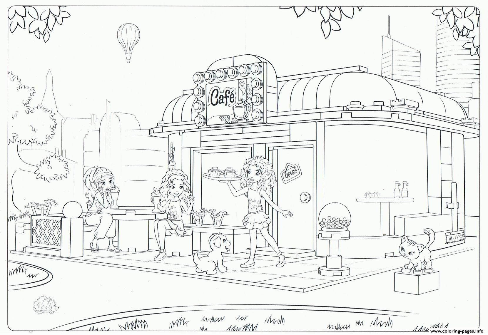 Lego friends cafe coloring pages printable for Printable lego friends coloring pages