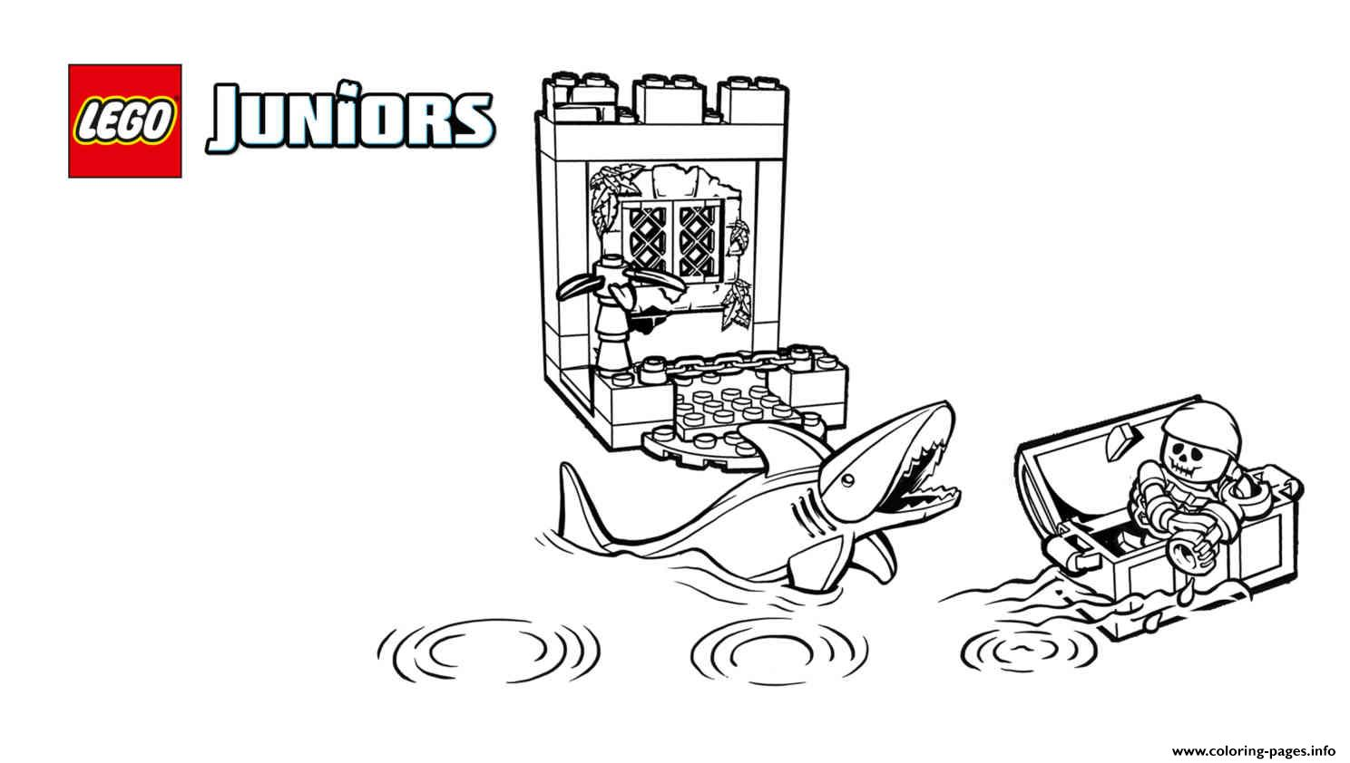 photo relating to Printable Lego Coloring Pages named Lego Juniors Pirates Shark Coloring Webpages Printable