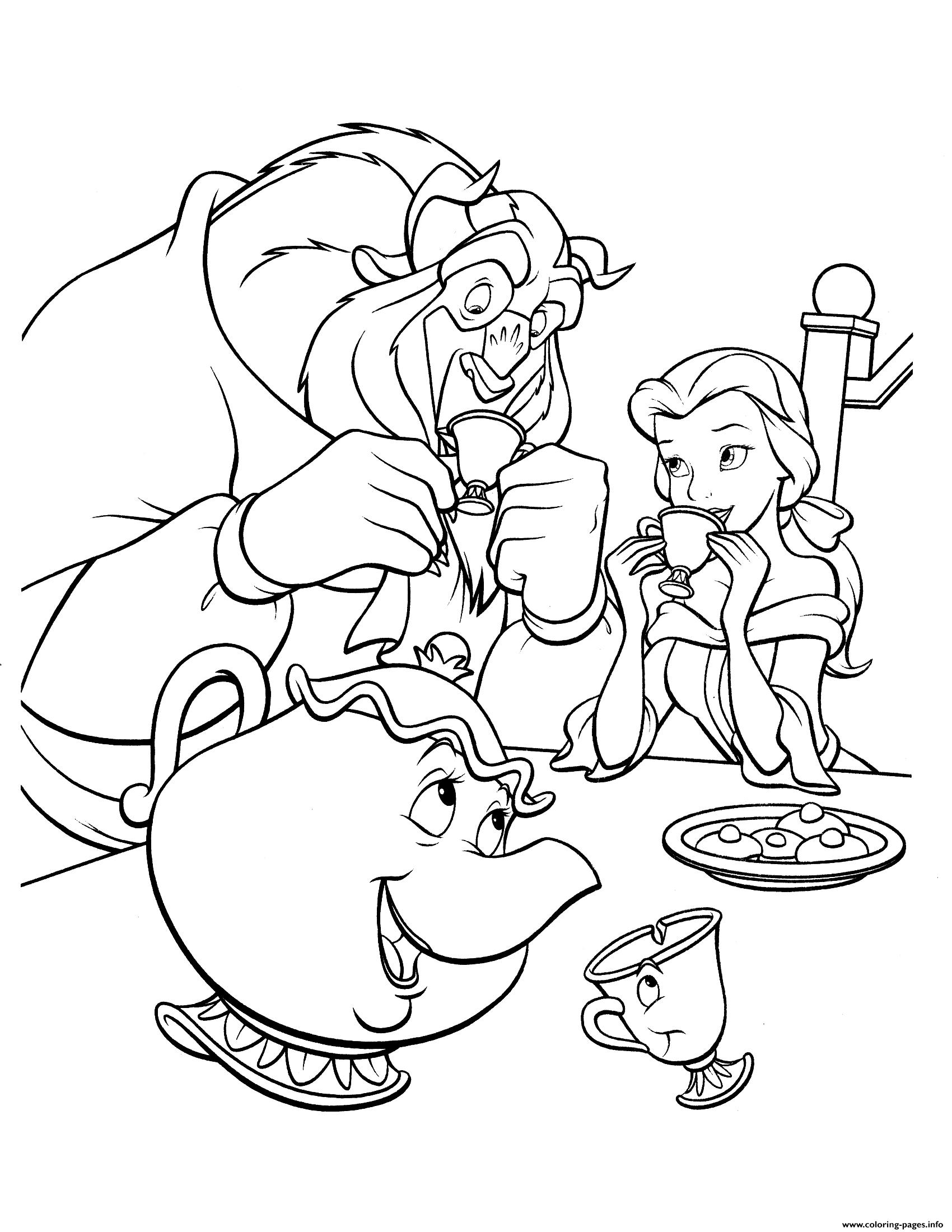 Beauty And Beast Drink Coffee Coloring Pages Printable