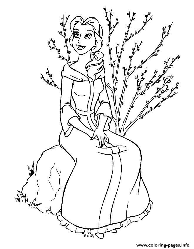 Belle Sitting On Stone B289 Beauty And Beast Disney Coloring Pages Printable