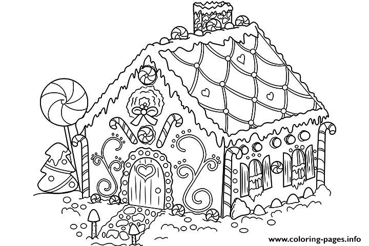 Gingerbread House Candy Coloring Pages Printable