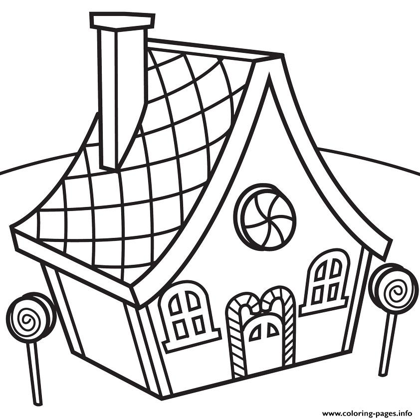 Attractive Candy House Coloring Pages