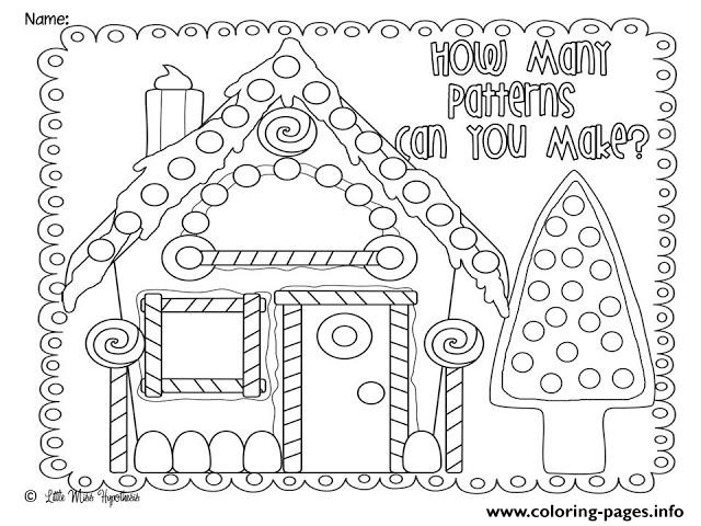 Christmas Coloring Gingerbread House Pattern Coloring