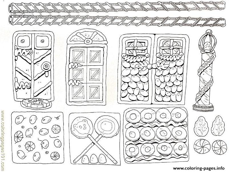 Printable Gingerbread House 4 coloring pages