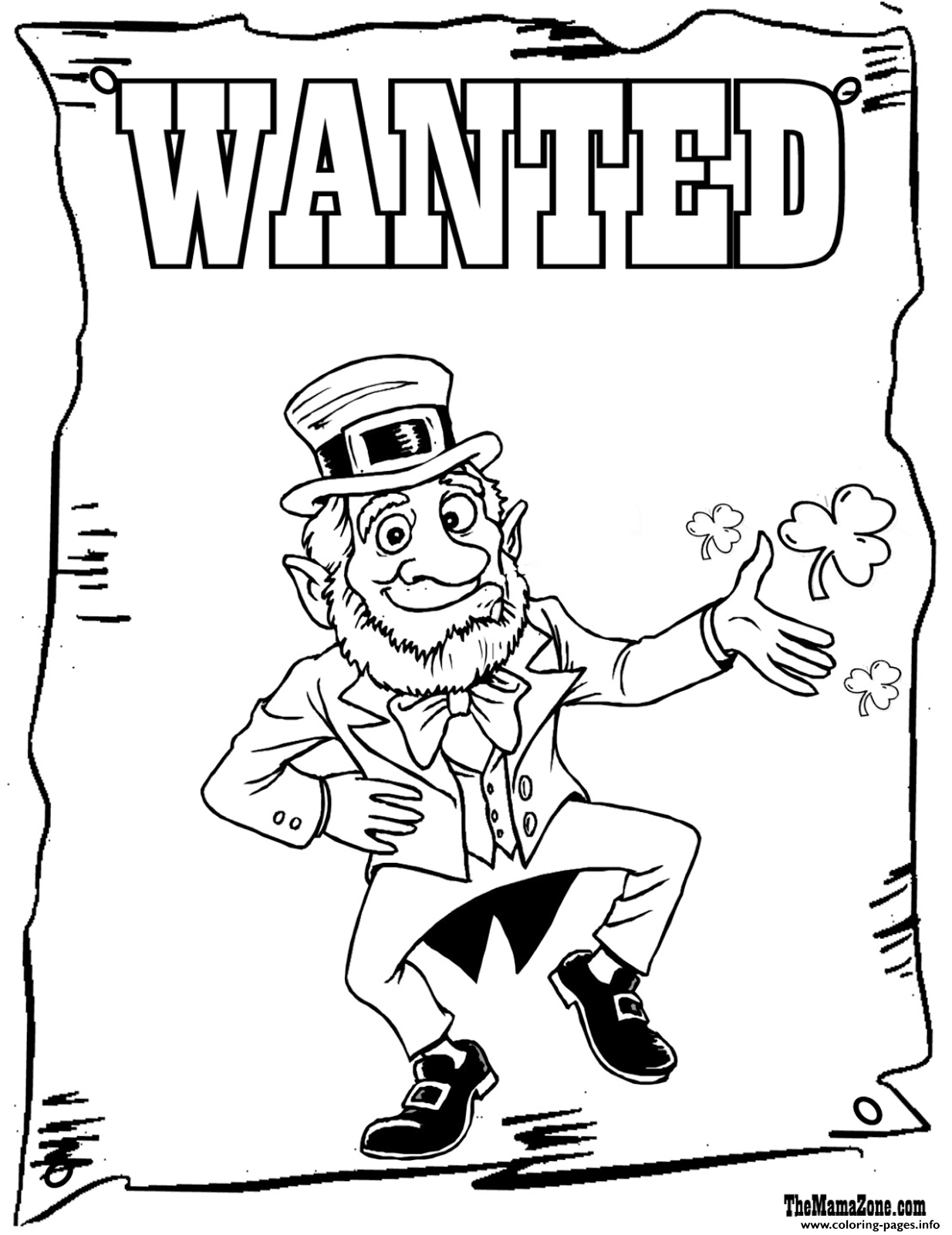 incridible st patricks day wanted coloring pages printable