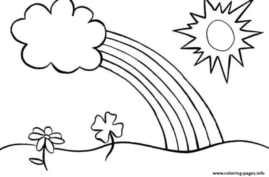 Rainbow Coloring Pages For Kids Flowers Sun Coloring Pages Printable