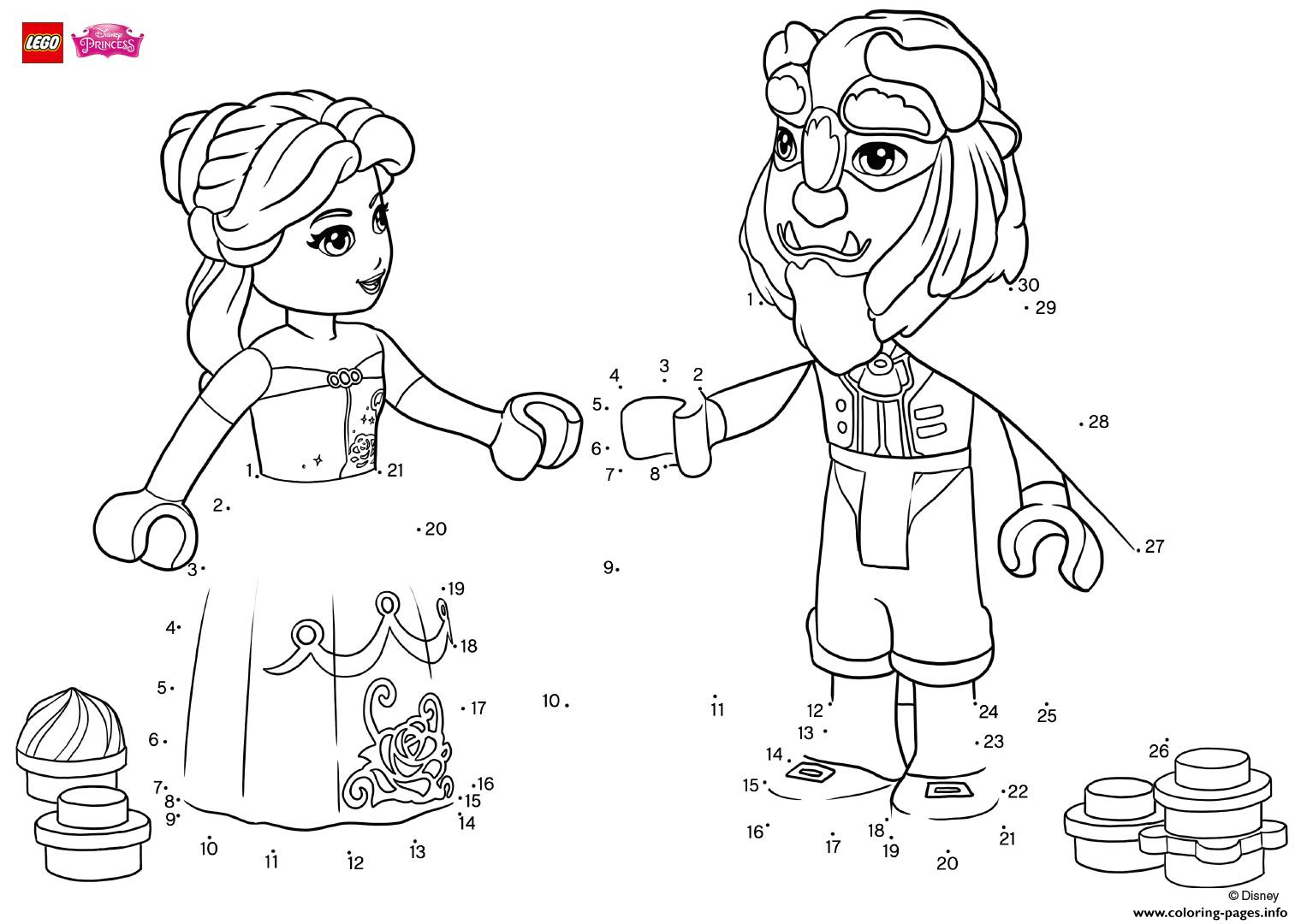 Have Fun Completing The Drawing Of Beauty And The Beast Lego Disney Coloring Pages Printable