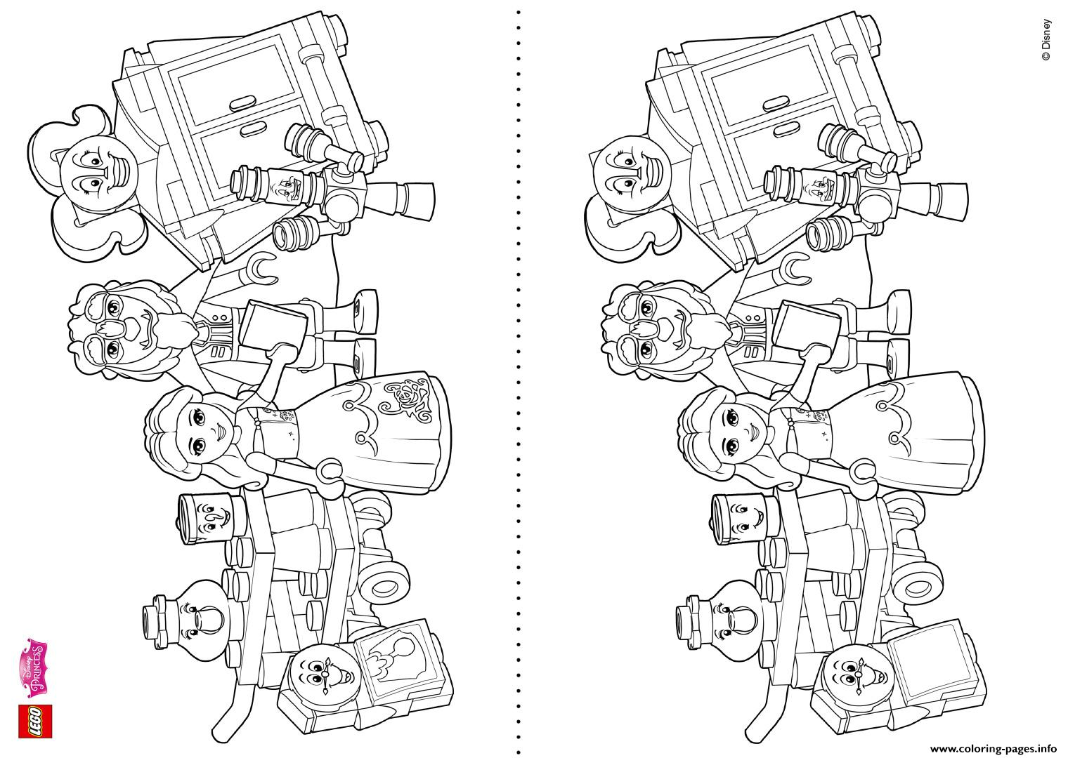Disney Lego Coloring Pages : Coloring fun with beauty and the beast lego disney