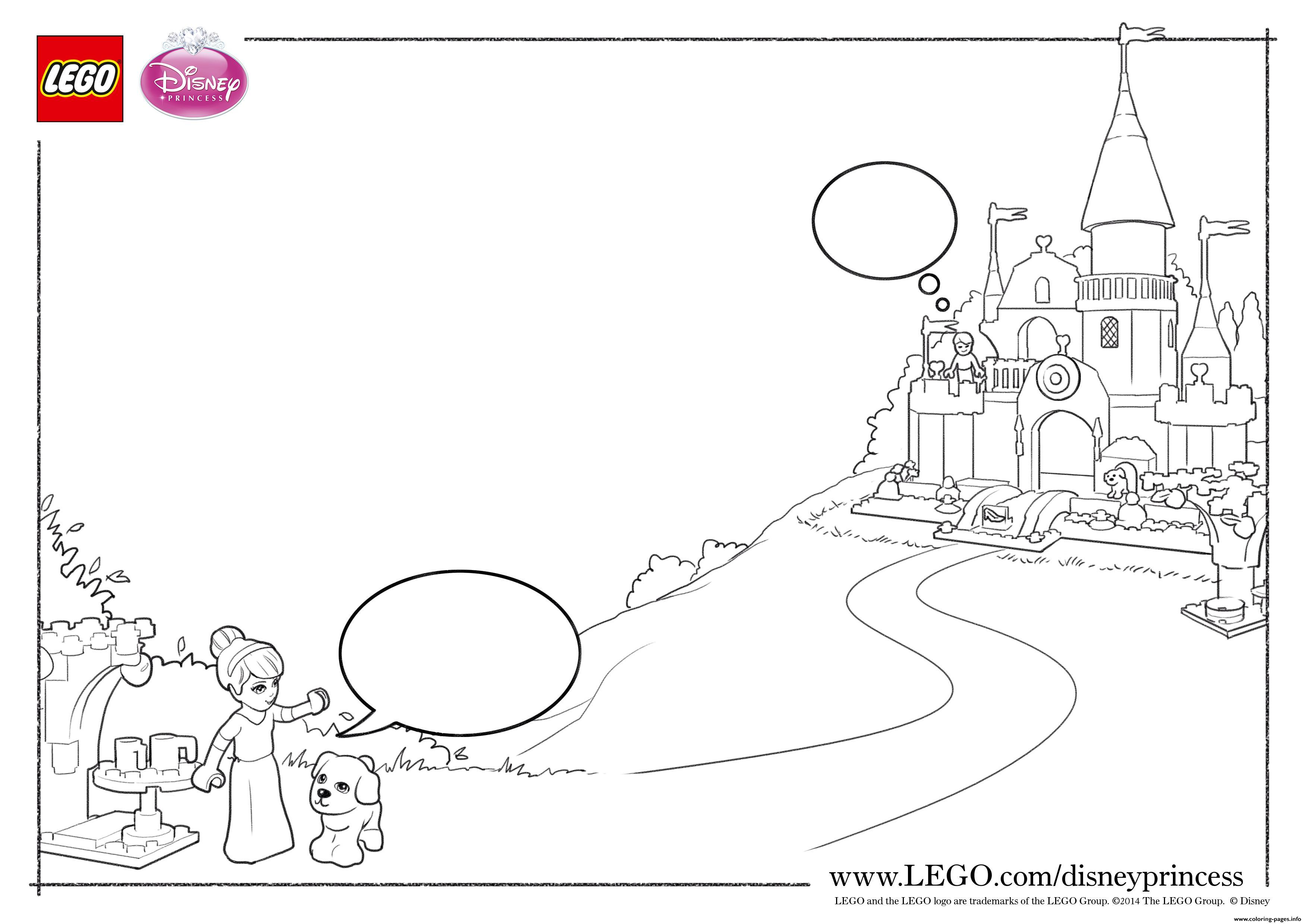 princess cindarella castle lego disney coloring pages printable