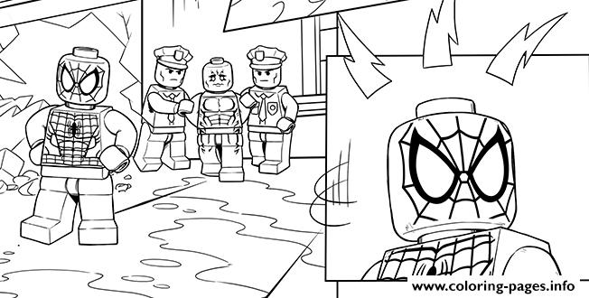 Lego Marvel Spiderman Police coloring pages
