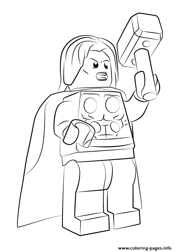 Lego Marvel Thor Avengers Coloring Pages Printable