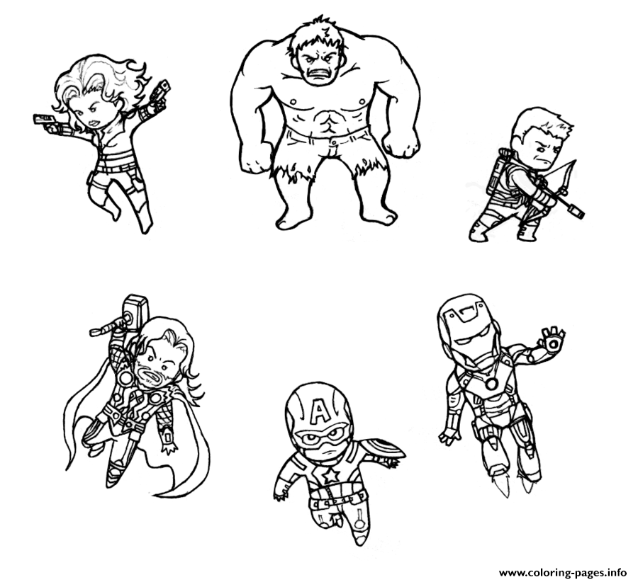 Mini Avengers Marvel Coloring Pages