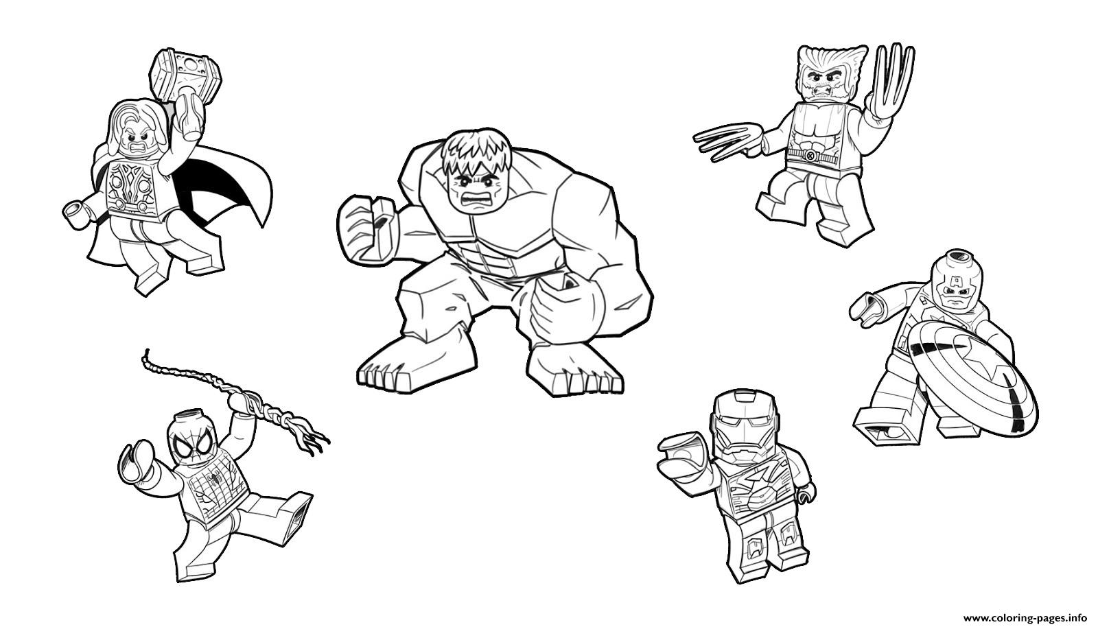 Team Lego Marvel Hulk Ironman Spiderman Thor America Wolverine Coloring Pages Print Download