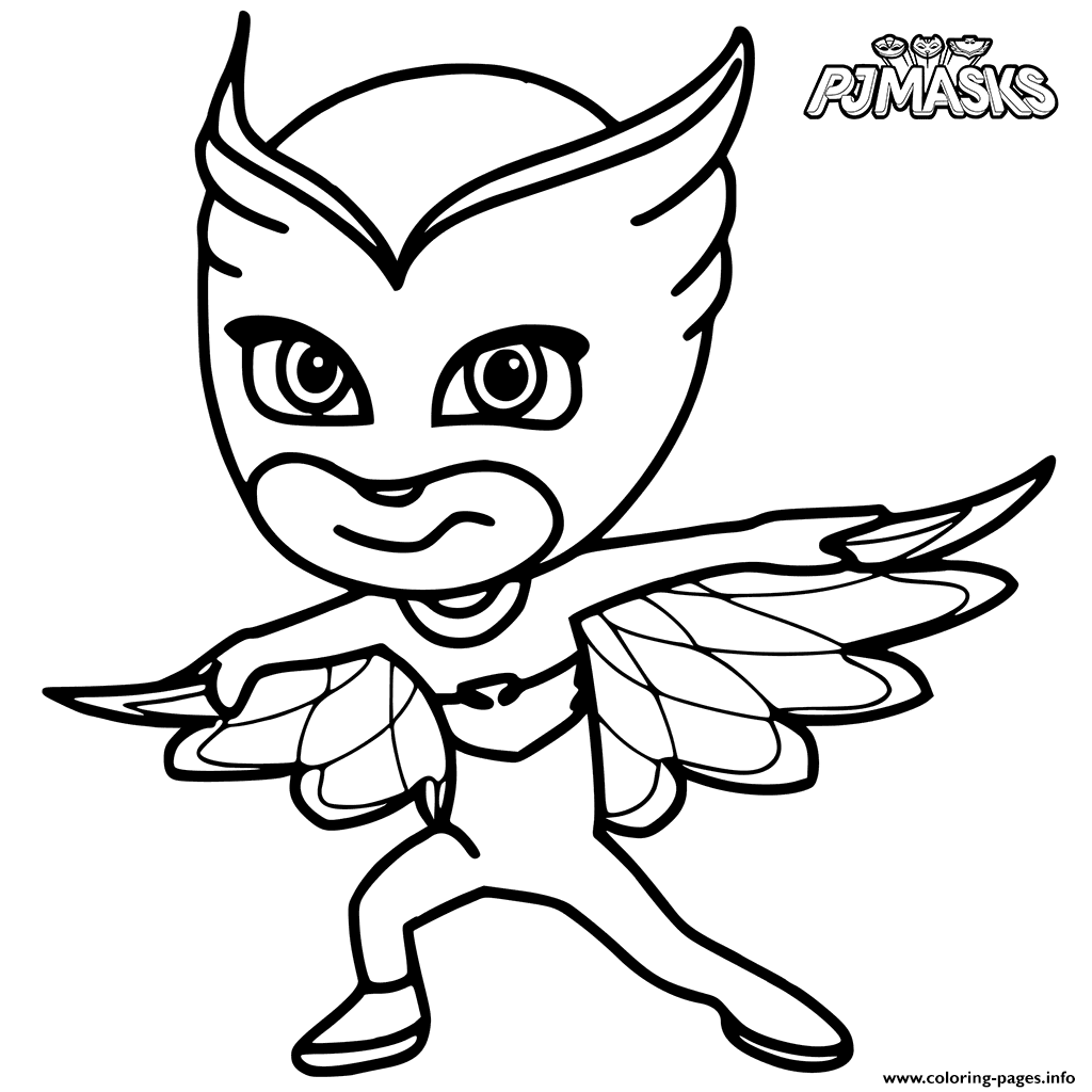 colour in owlette from pj masks coloring pages print download