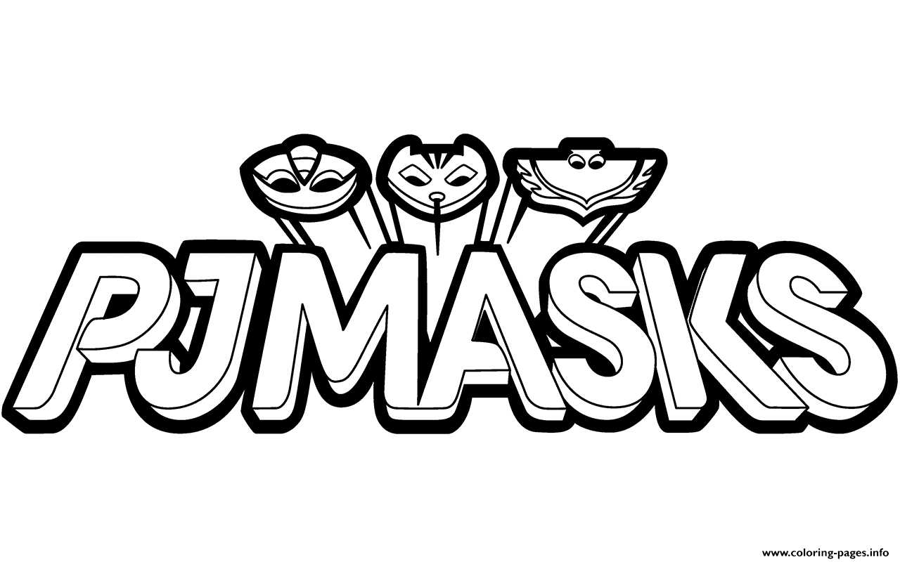 PJ Masks Logo Black And White Clipart Coloring Pages