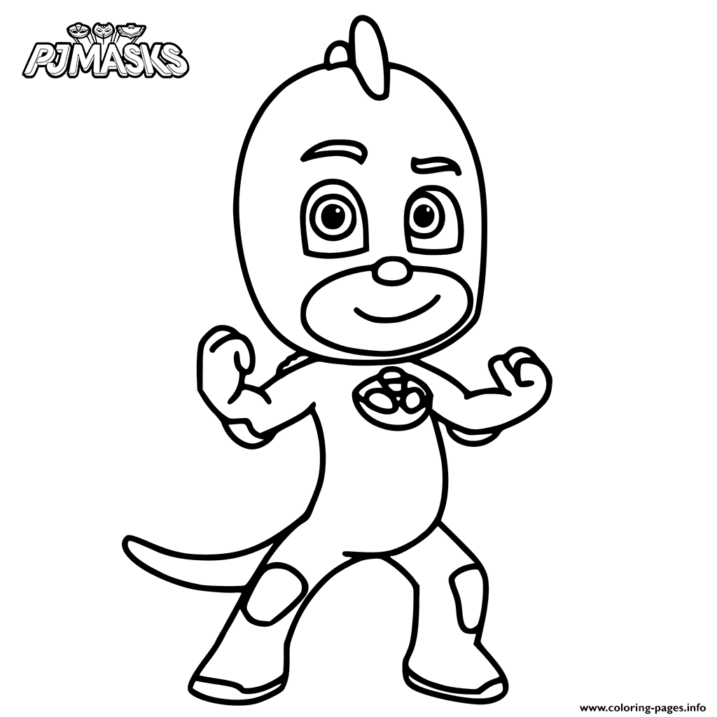Colour In Gekko From PJ Masks Coloring Pages