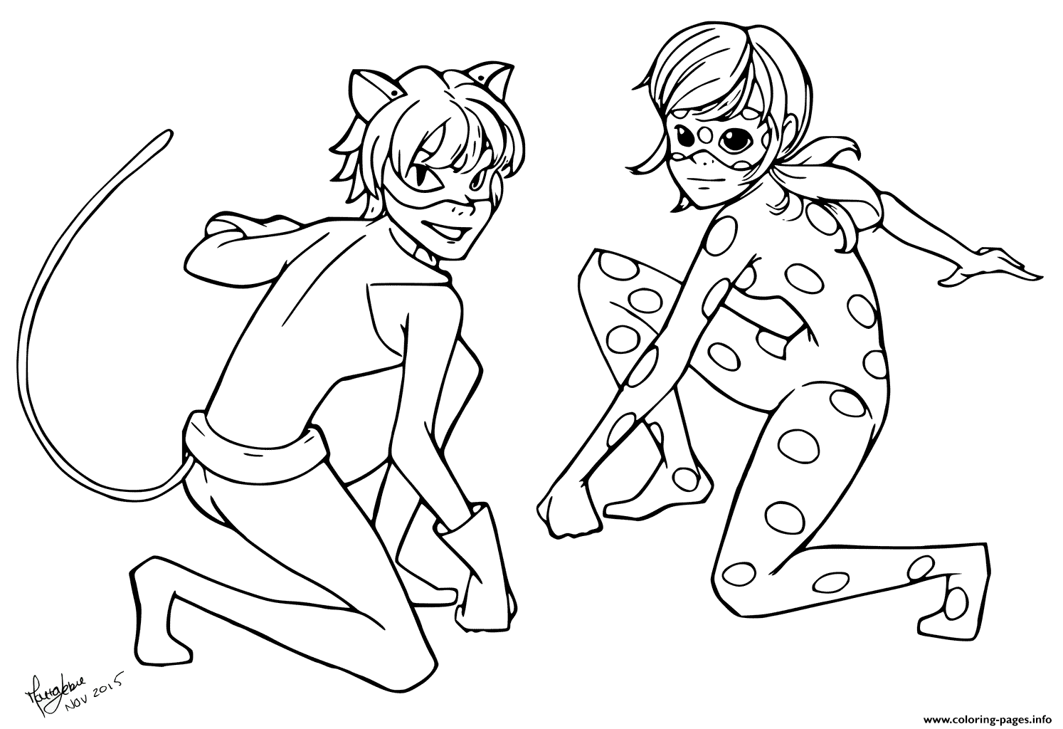 print miraculous tales of ladybug cat noir kids coloring pages