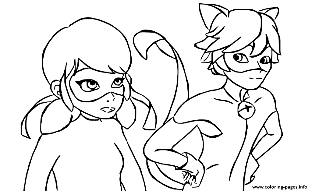 Ladybug And Cat Noir Are Talking Coloring Pages Printable
