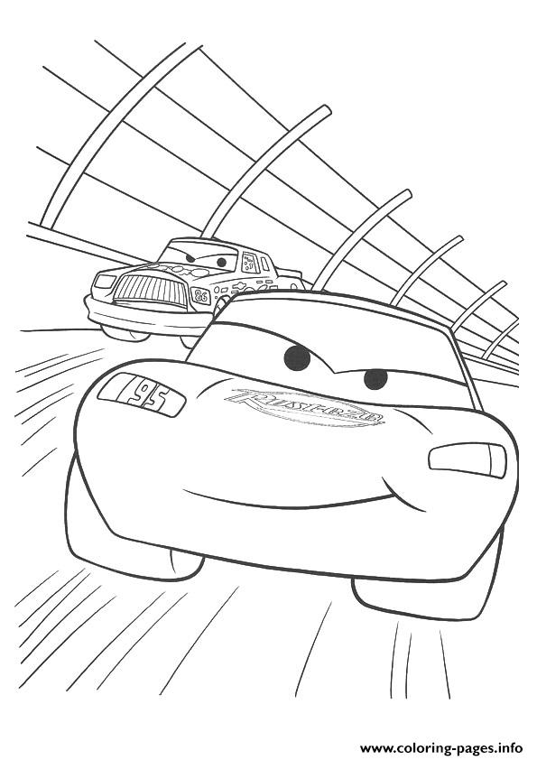Cars Lightning Mcqueen Racing A4 Disney Coloring Pages