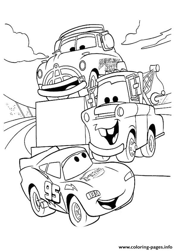 Cars Lightning McQueen Talking With Friends A4 Disney Coloring Pages Print Download