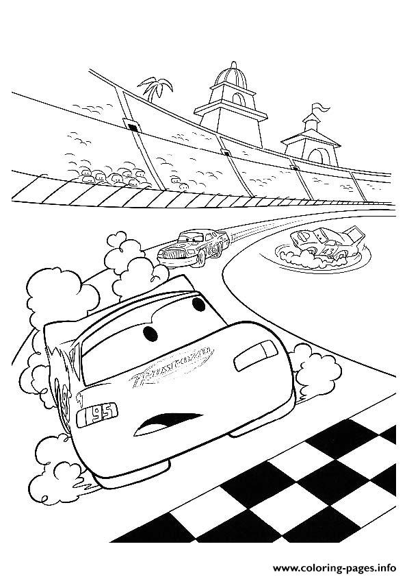 Cars Lightning McQueen In Racing A4 Disney coloring pages