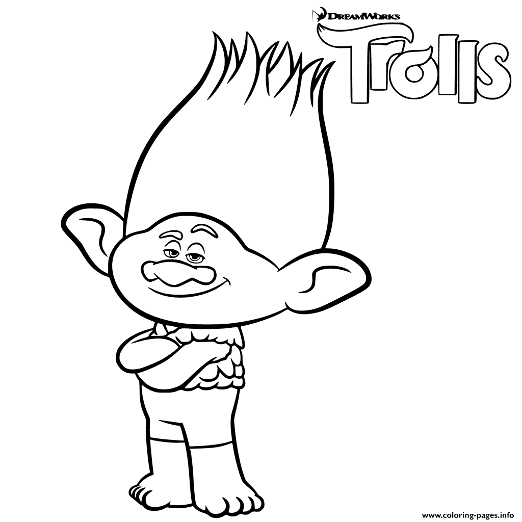 branch trolls coloring pages - Trolls Coloring Pages
