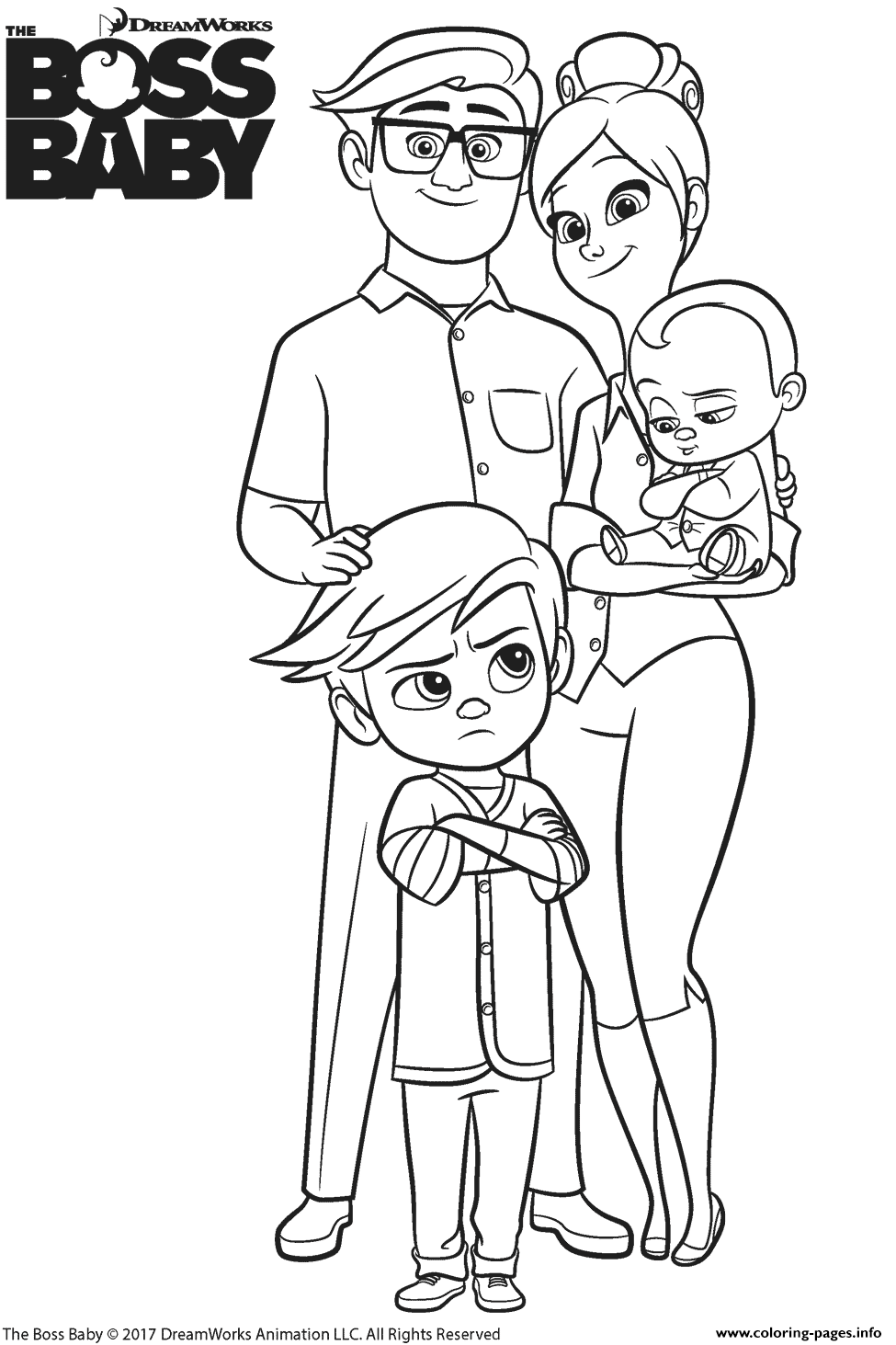 templeton family from the boss baby coloring pages