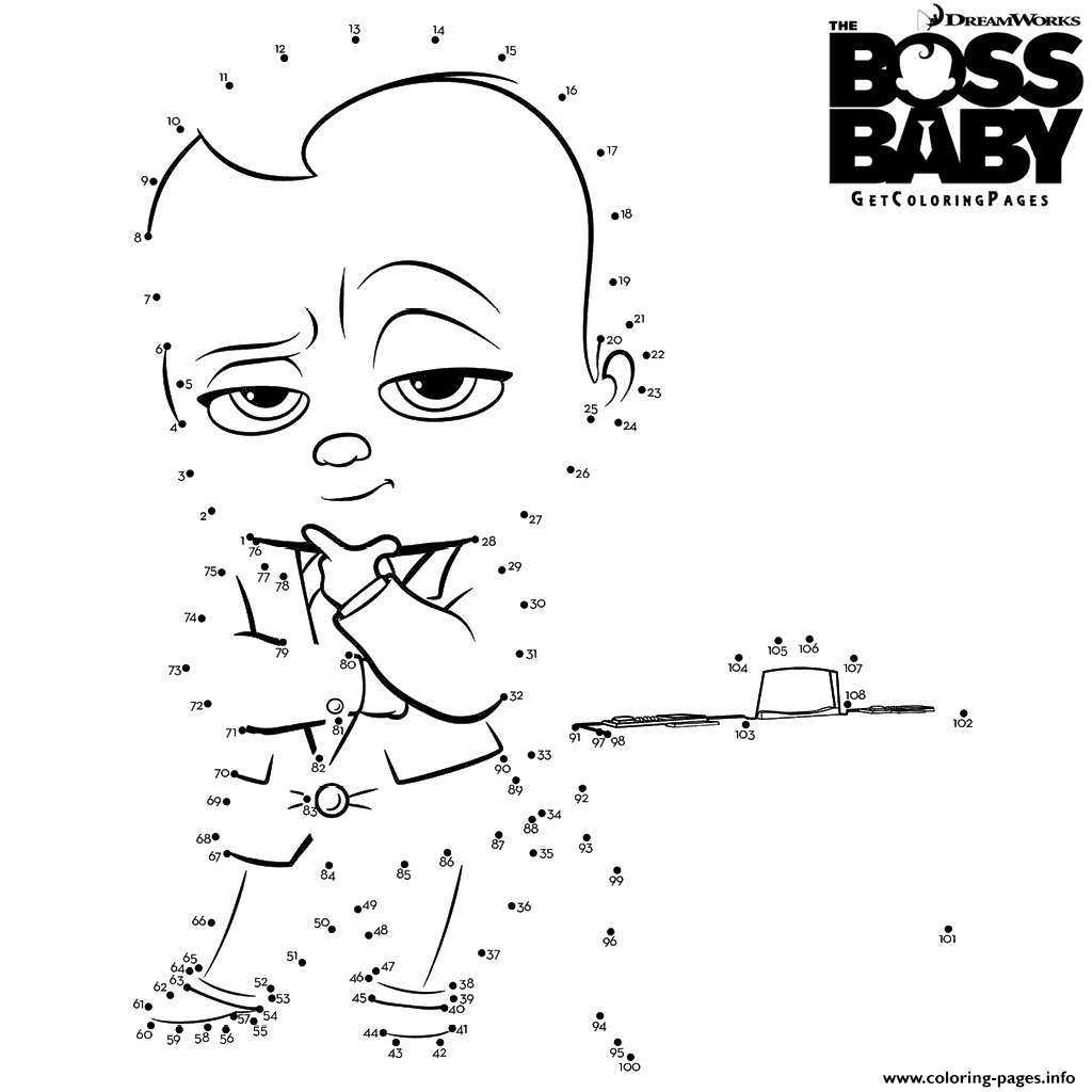 picture about Boss Baby Printable titled The Manager Boy or girl Talk The Dots Coloring Webpages Printable