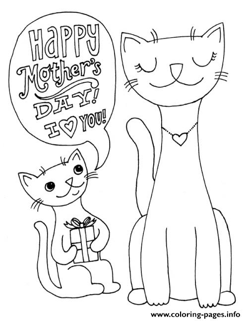 Happy Mothers Day Cats Animal S2691s Coloring Pages