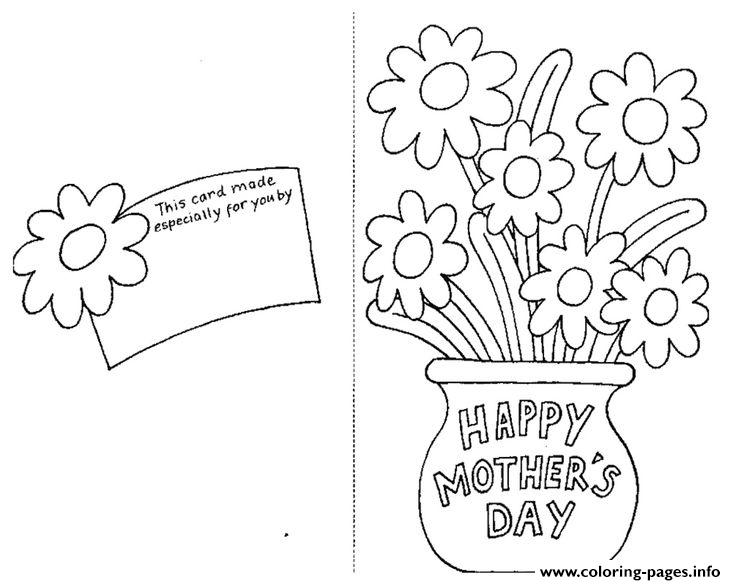 Happy Mothers Day Card By Coloring Pages Printable
