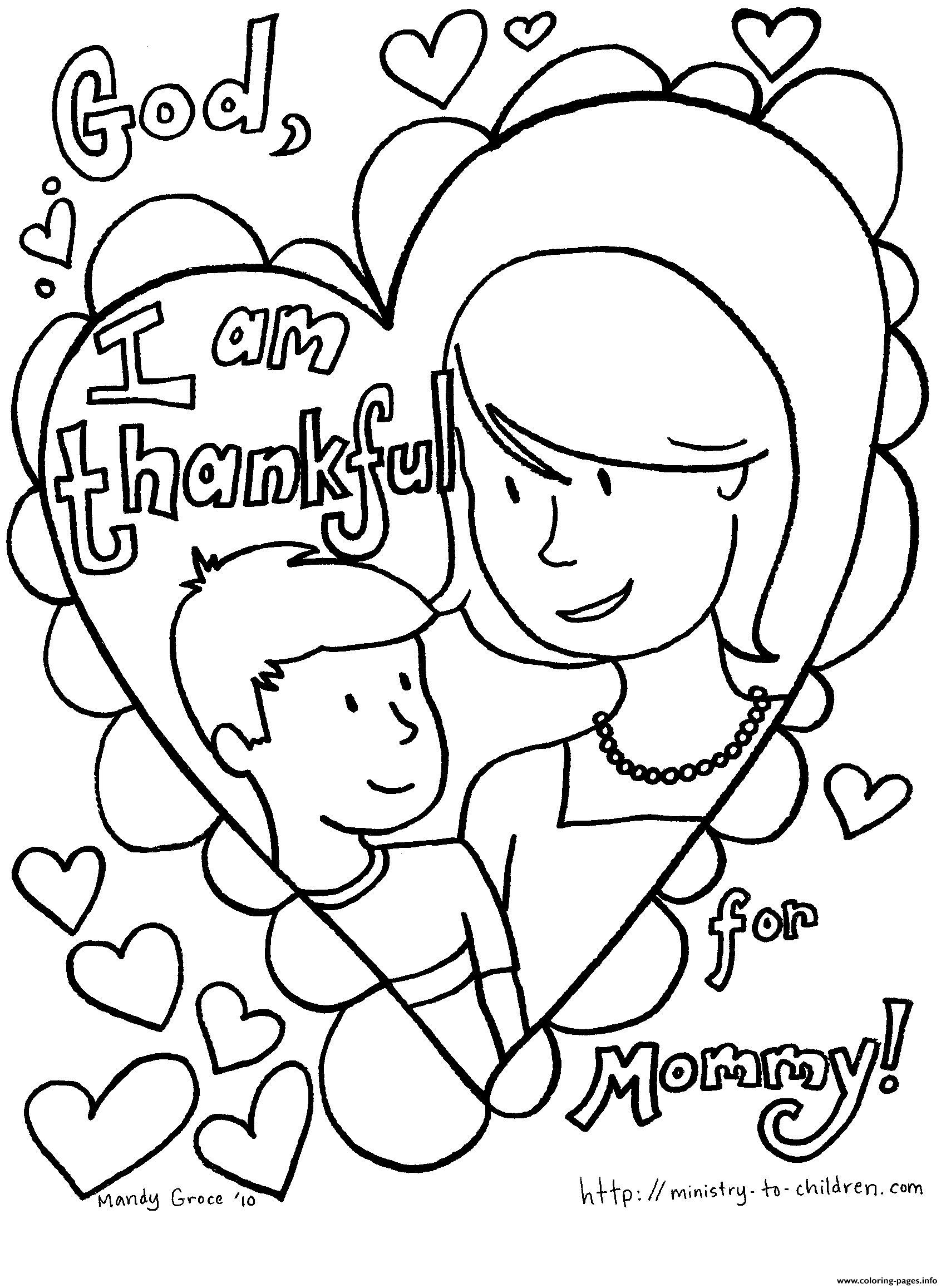 Mothers Day i am thankful for mommy coloring pages